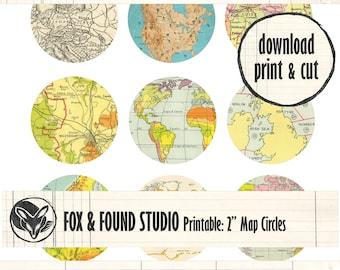 """Printable 2"""" Map Circles Ephemera digital download, A4 sheet, junk journaling, collage, travel journal, old map paper, 2"""" circle punch"""