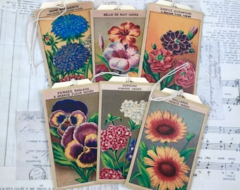 Journal pockets, flower seed packet design with stamped tags, junk journaling, art journaling, bujo, tuck spots