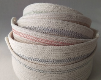 Freshwater Cotton Rope Bowl in Ominous Skies, a handmade coiled cotton rope storage basket