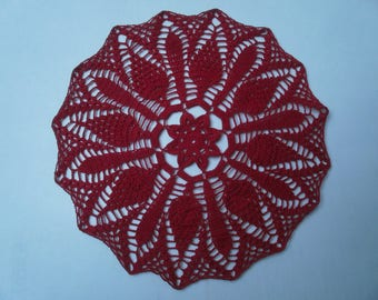 N85 DOILY crocheted with red cotton