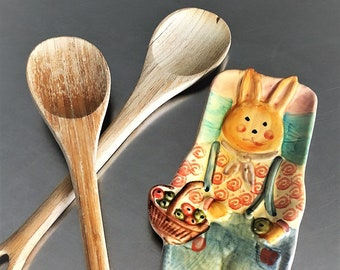 Ceramic Rabbit Plate - Easter Bunny Dish - Springtime Spoon Rest - Made In Italy