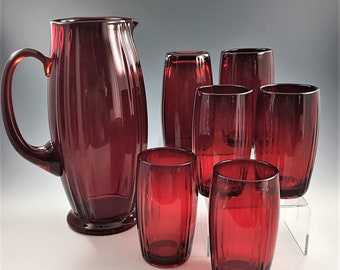 New Martinsville Water Set - Oscar Ruby Pattern - Pitcher and 6 Tumblers - Hard to Find