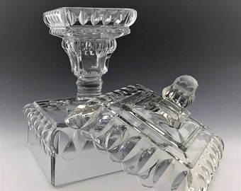 Large EAPG Lidded Compote - Adams and Company - Crystal Wedding Pattern - Early American Pattern Glass - Circa 1890