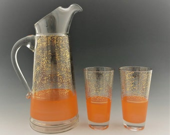 Blendo Mid Century Pitcher and Tumblers - West Virginia Specialty Glass - Water Set - MCM Cocktail Set - Four Tumblers