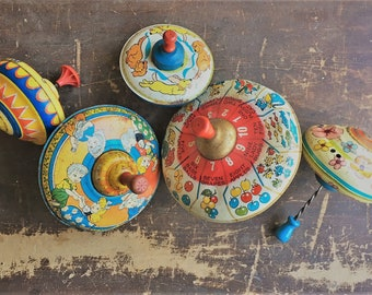 Collection of 5 Vintage Metal Toy Tops - Spinning Tops - Colorful Playthings