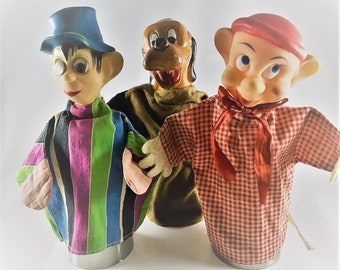 Set of 3 Vintage Hand Puppets - Walt Disney Dopey - Pluto - Magician
