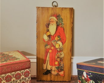 Vintage Wooden Santa Claus Wall Hanging - 1960s Retro Decoupage - Holiday Decorations - Christmas Decor