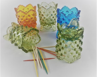 Set of 5 Vintage 1960's Fenton Art Glass Hobnail Toothpick Holders - Green, Amberina, and Blue