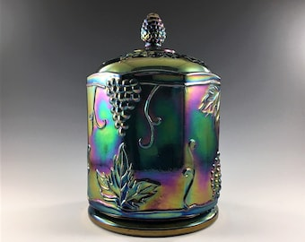 Vintage Iridescent Carnival Glass Jar - Indiana Glass Harvest Blue - Contemporary Carnival Glass 7 Inch Canister