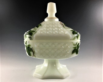 Consolidated Glass Wedding Box - Con-Cora Collection - Milk Glass Wedding Box - Lidded Candy Box - Hand Painted