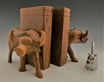 Vintage Wooden Cow or Ox Bookends - Water Buffalo or Steer Bookends - Rustic Decor