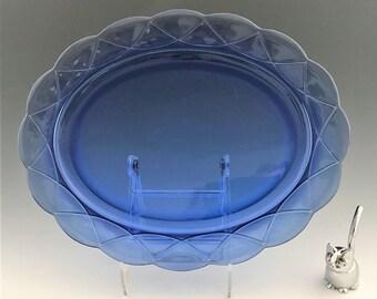 Hazel Atlas Newport Cobalt Blue - Oval Platter - Hairpin Pattern - Cobalt Depression Glass