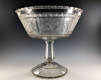 EAPG Compote - Bryce Bothers Glass - Regal Pattern (OMN) - AKA Paneled Forget Me Not - Circa 1883 - Early American Pattern Glass