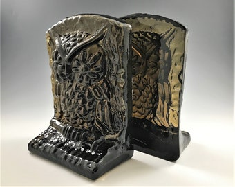 Amber Glass Owl Bookends - Set of Two