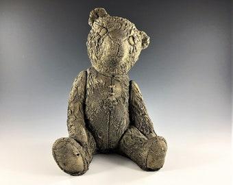 Vintage Teddy Bear Statuary - Heavy Faux Stone Bear - Garden Bear - Shelf Sitting Bear Bookend - Stuffed Bear Look-A-Like