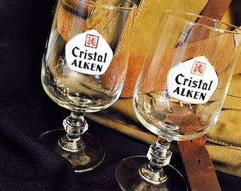 Two Rare and Unique Cristal Alken Belgian Pilsner Beer Glasses