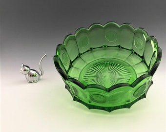 Fostoria Coin Glass Emerald Green - 7 Inch Round Bowl