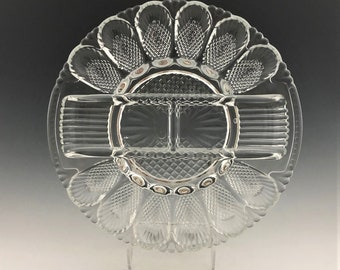L.E. Smith Hobnail Deviled Egg Dish and Relish Plate