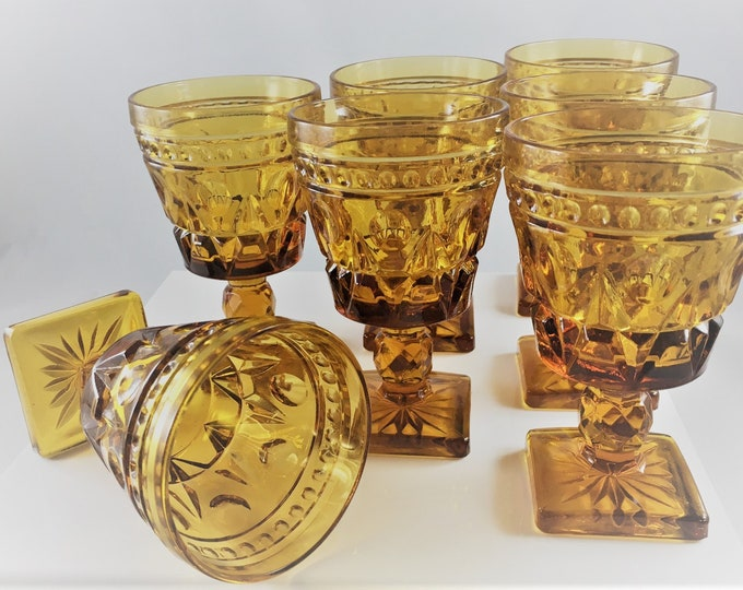 Featured listing image: Set of 7 - Vintage Indiana Glass Park Lane Amber Wine Glasses - Mid Century Glassware - Goblets