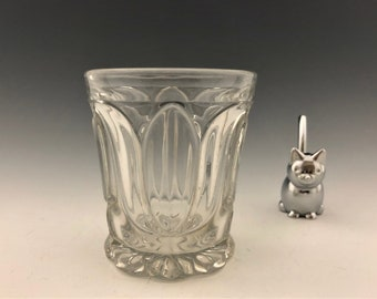 EAPG Flint Glass Tumbler - Unknown Maker - Tulip and Oval Pattern - Early American Pattern Glass - Circa 1860's