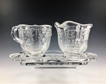 Fostoria Navarre Pattern Breakfast Set - Creamer and Open Sugar Bowl with Tray - Clear Baroque Blank