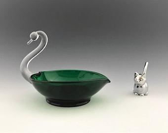 Emerald Green Swan Candlestick Holder - Duncan Miller