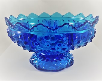 Vintage Fenton Blue Glass Candlestick Bowl - Hobnail Candle Holder