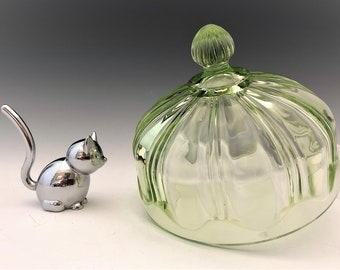 Hocking Glass Colonial Pattern - Knife and Fork - Uranium Glass Butter Dish Lid - Green Depression Glass - Glowing Glass - c. 1933-36