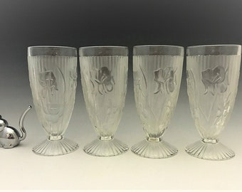 Jeannette Iris Footed Tumblers - Set of 4