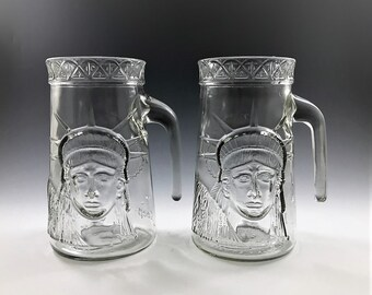 Set of Two Statue of Liberty Centennial Celebration Commemorative Mugs/Steins/Glasses - Vintage Anchor Hocking