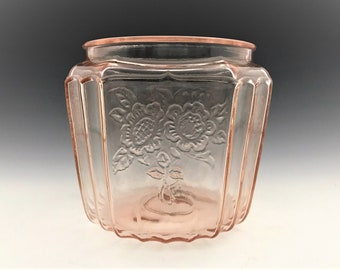 Pink Depression Glass Cookie Jar - Hocking Mayfair Pink - Open Rose Pattern