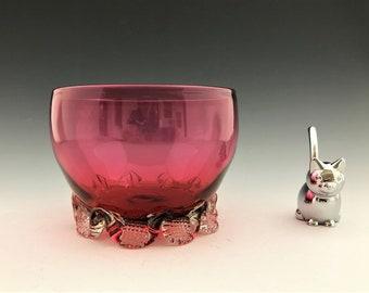 Victorian Cranberry Glass Bowl - Pincered Feet - English Art Glass - Light Ruby Glass - Welz Glass