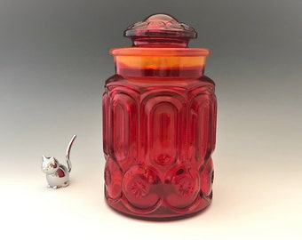 L.E. Smith Moon and Star Flame (Amberina) Sugar Canister and Lid (#6283) - 3 1/2 Pound Jar - Retro Kitchen Storage