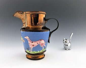 Exquisite Copper Luster Jug - Iridescent Pitcher - Pink Dalmatian and Bull - Hard to Find
