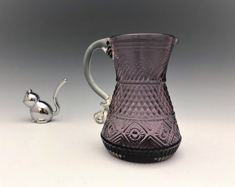 Vintage Pilgrim Glass Purple Cream Pitcher - Bennington Pattern - Amethyst Creamer