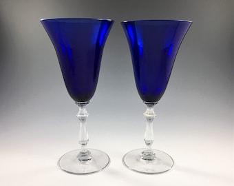 Set of 2 Cobalt Blue Water Goblets - Huntington Glass Ding Pattern - Vintage Wine Glasses - Champagne Glasses