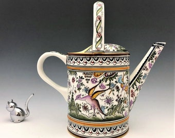 Real Ceramica Hand Painted Watering Pitcher - Coimbra Portugal - Dragon Pitcher - Signed