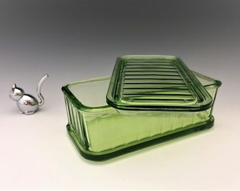 Hocking Glass Covered Refrigerator Dish - Glowing Uranium Glass - Green Depression Glass