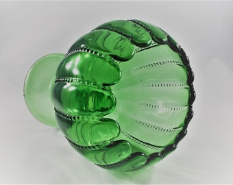 Vintage Green Glass Pedestal Ivy Bowl - L.G. Wright Glass - Beaded Green Pattern - Large Glass Bowl or Compote