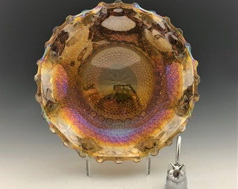 Indiana Glass Iridescent Amber Hostess Plate (#2908) - Contemporary Carnival Glass