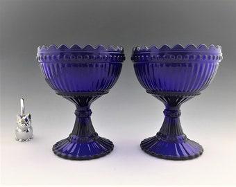 Set of 2 Cobalt Blue Compotes - Mariskooli Bowls - IITTALA Finland - Pedestal Bowls