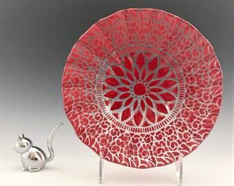 Vintage Sydenstriker Art Glass Bowl -  Fused Glass Bowl