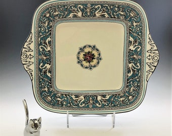 Wedgewood Florentine Turquoise Square Handled Cake Plate - Hard to Find - Dragon or Griffin Motif Fine Bone China