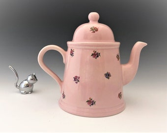 Vintage Arthur Wood Teapot and Lid - English Teapot - Pink Ceramic Teapot With Floral Motif- Hard to Find