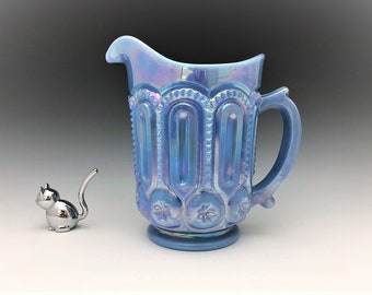 Weishar Moon and Star Delphite Blue Water Pitcher - Rare Full Size Pitcher