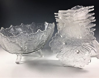 EAPG Berry Bowl Set - Gillinder and Sons - Leaf Pattern - Maple Leaf Motif - 9 Piece Set - Early American Pattern Glass - Circa 1880
