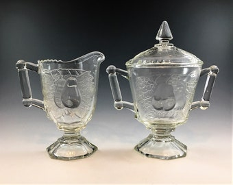 Jeannette Glass Baltimore Pear Pattern - Breakfast Set - Creamer and Sugar Bowl
