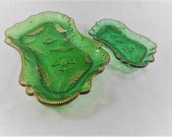 EAPG Dresser Set and Pin Trays - U.S. Glass Company - No. 15065 Delaware Pattern - Four Petal Flower - Antique Green Glass - Circa 1899