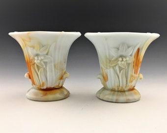 Set of Two Akro Agate Slag Glass Urn Vases