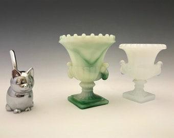Set of 2 Trophy Vase Toothpick Holders - Akro Agate Slag Glass